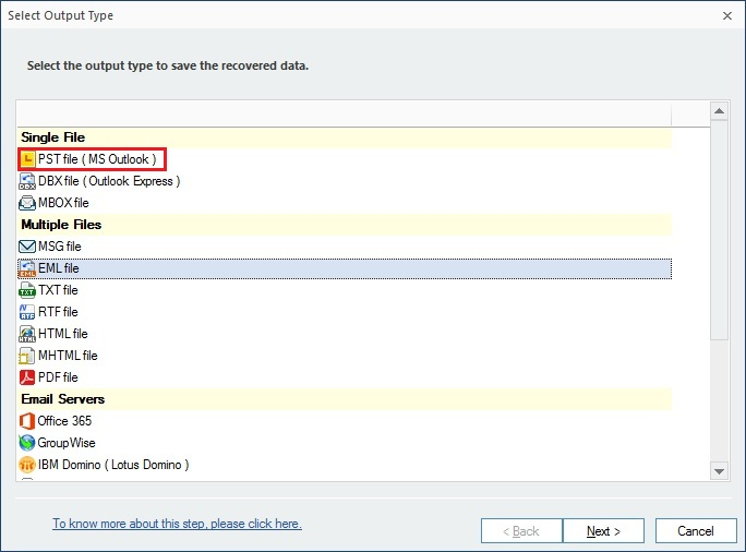 select the format want to save recovered PST