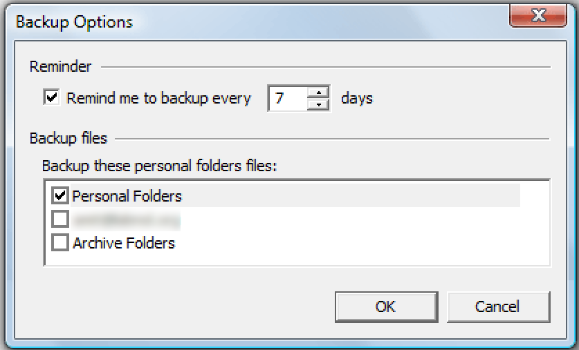 select the available personal folders