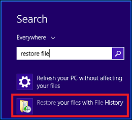 Select Restore files with file history