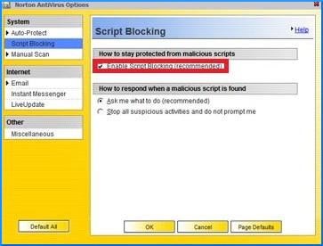 select Script Blocking