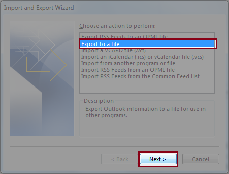 Click on Export to File option