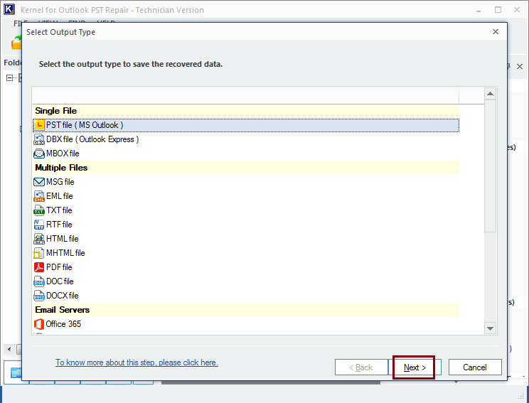 Select destination to export PST file