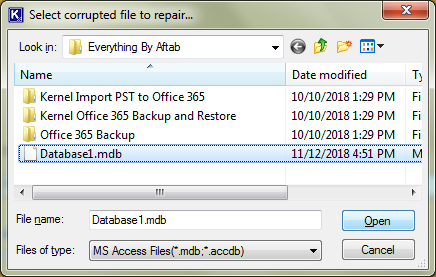 select corrupted access file