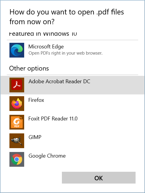 make Adobe Reader the default program