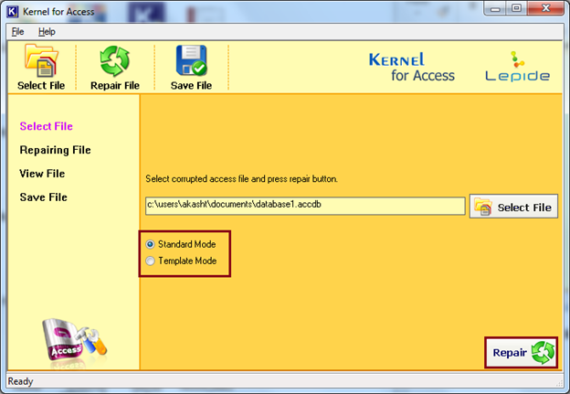 Select the Mode to repair the corrupt Access file