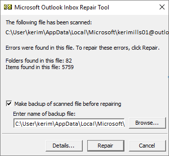 Start to repair selected file