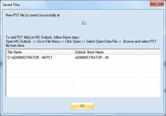 find message with the location of the PST file