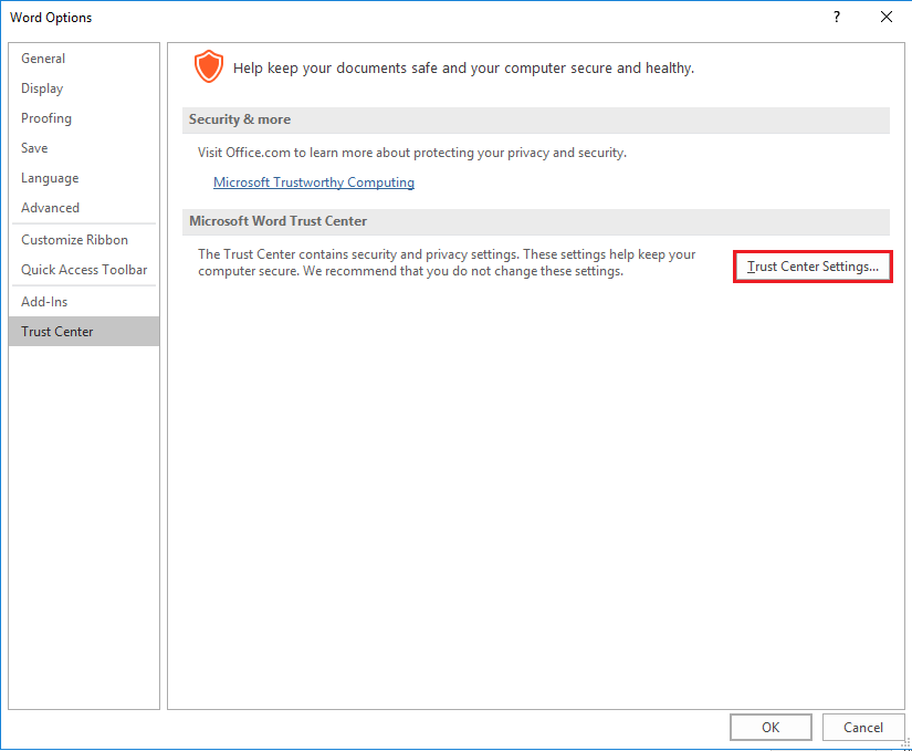 Outlook attachment settings for MS Office files
