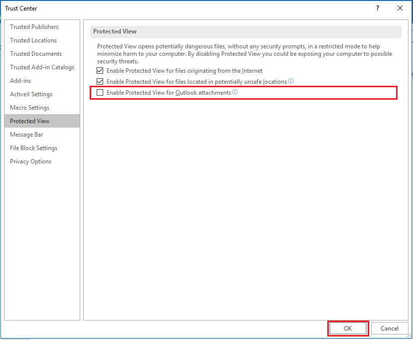 How to enable Protected view for Outlook attachments