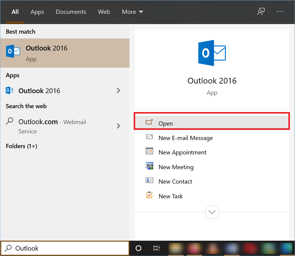 Start the Outlook Application