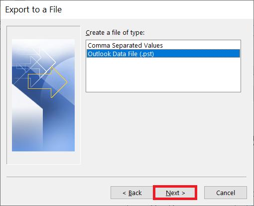 Choose Outlook Data File