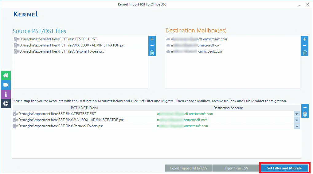 Select Office 365 mailboxes