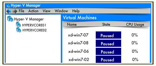 user opens the Hyper-V Manager then the following state appears