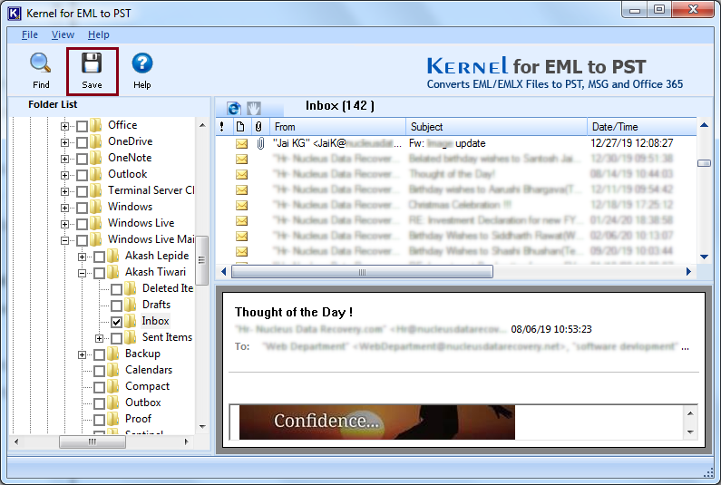 Select EML files to Recover
