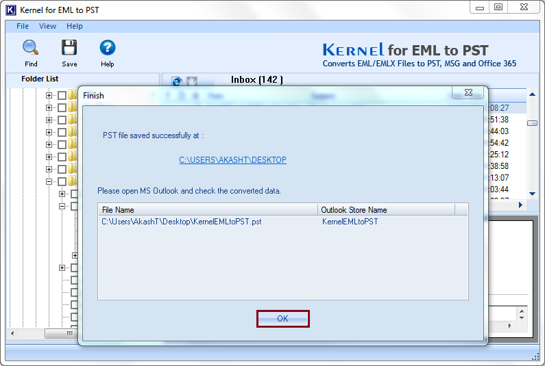 EML files are successfully saved in PST