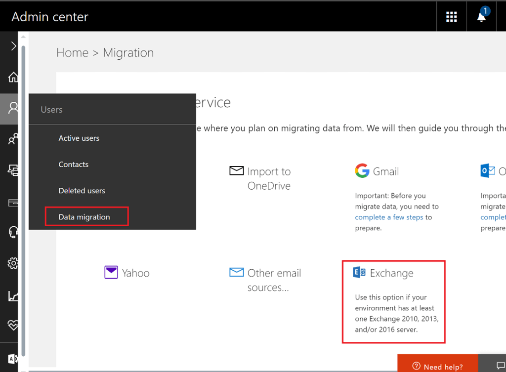 Begin Express Migration from Office 365 Portal