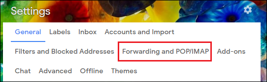 Select Forwarding and POP/IMAP