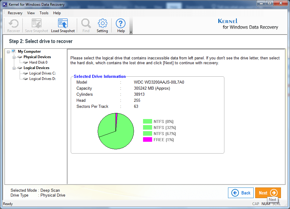 Kernel Windows Data Recovery - Home Screen