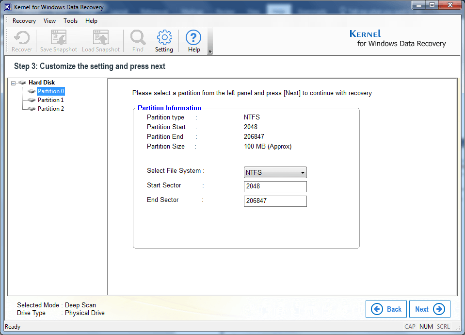 Search & Select Partition