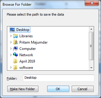 Select destination to save recovered data