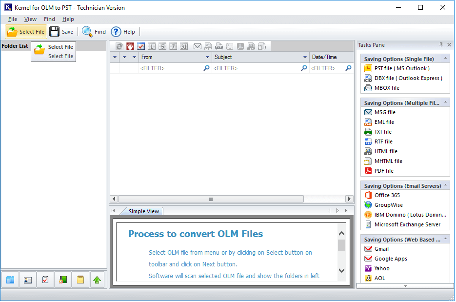 Launch OLM to PST converter