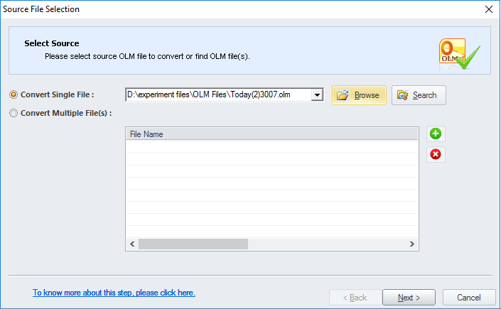 Select OLM file to convert