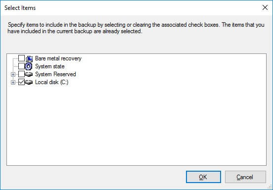 Select Volumes for Exchange backup