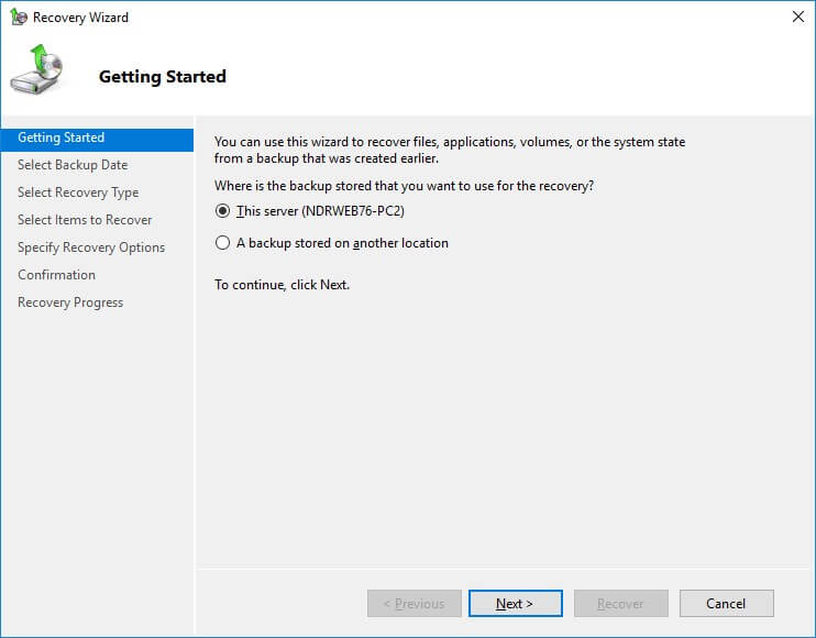 Recover Exchange backup using Windows Server backup application