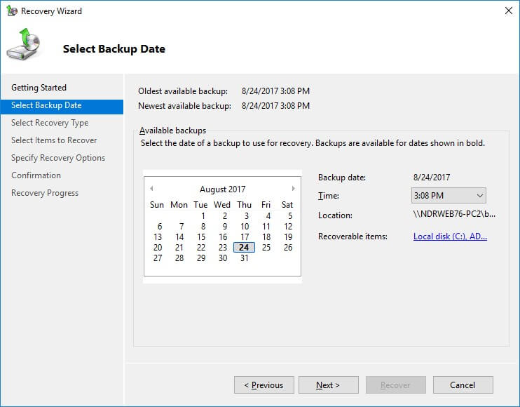 Select the Exchange backup for recovery