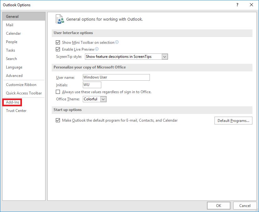 select Add-Ins in File menu