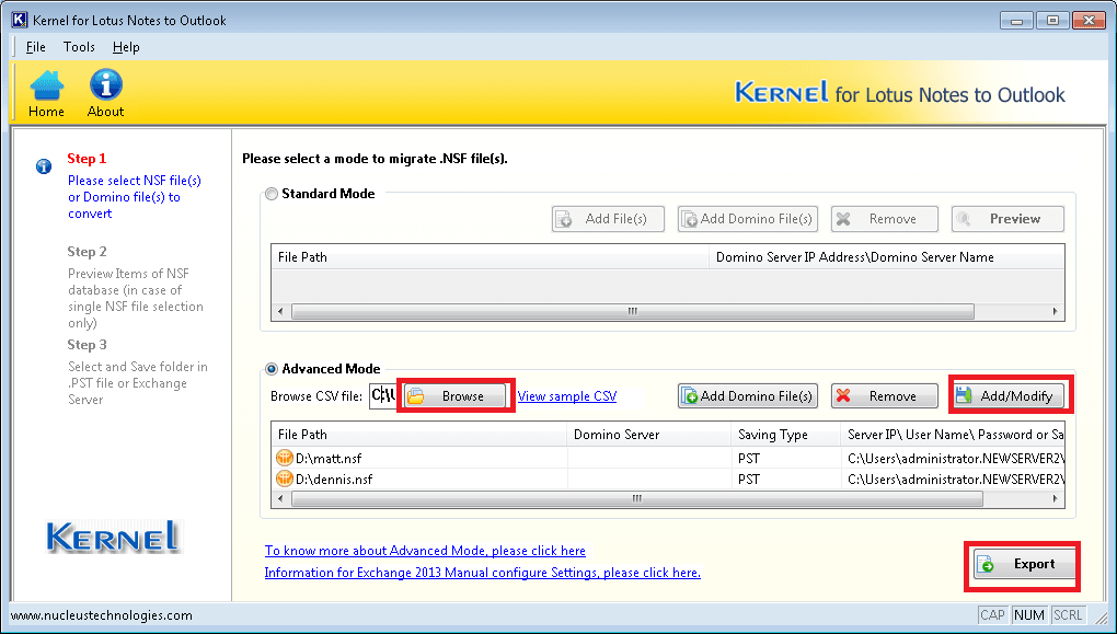 Migrate multiple Notes and Domino Server files to Outlook and Exchange Server