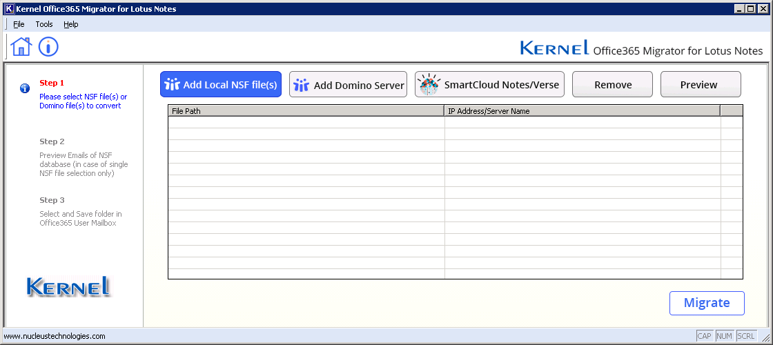 Launch Lotus Notes to Office 365 migrator software