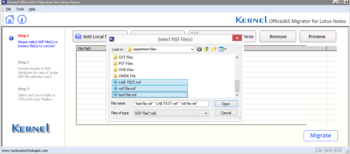 Select NSF file to migrate