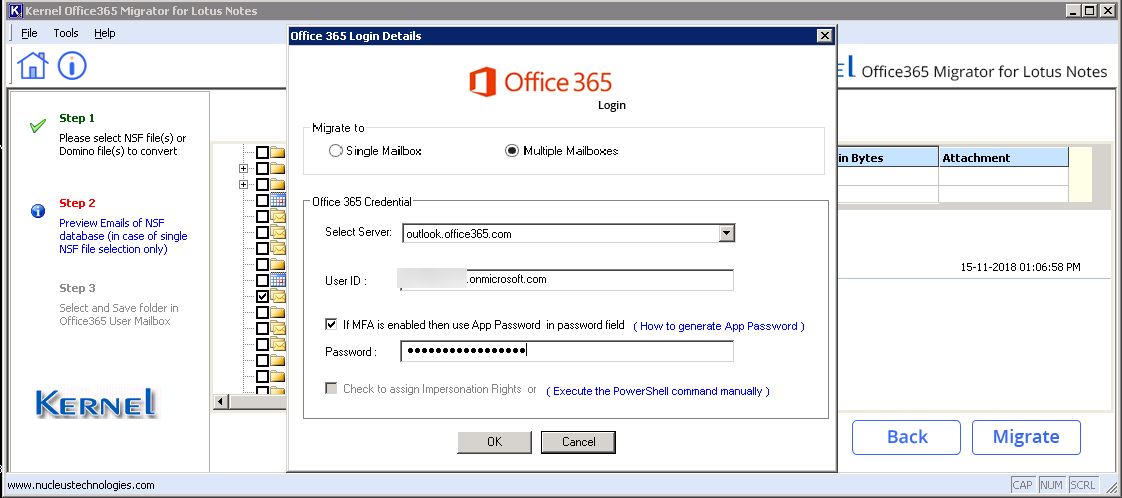 Provide Office 365 login credentials