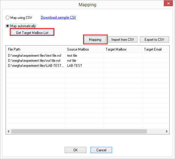 Select NSF file and click mapping option