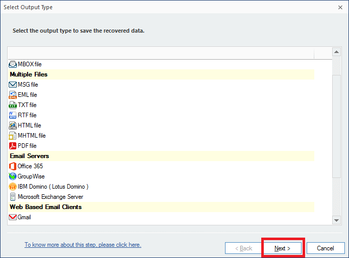Select either Exchange Server or IBM Domino or Novell GroupWise, or Office 365 as a destination