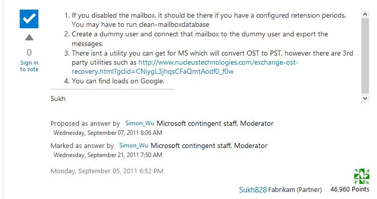 Moderator answer