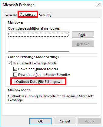 Outlook Data File Settings