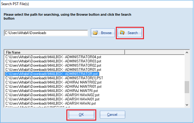 Search button to search for PST files