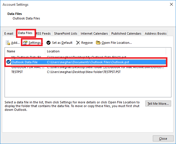 Select Outlook PST file
