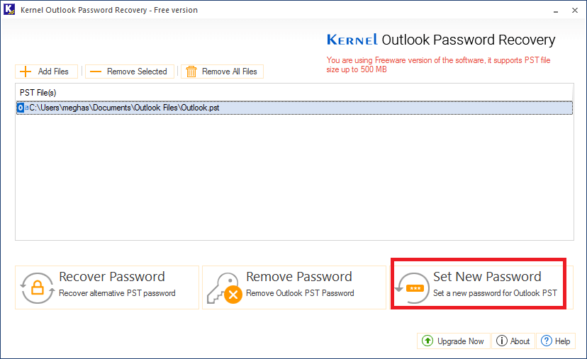 Outlook PST password recovery