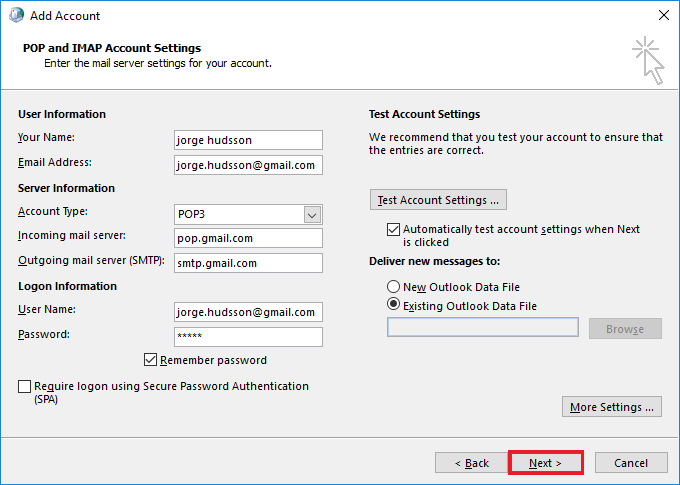 Select Existing Outlook Data File