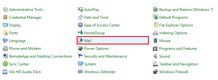 Mail Setup – Outlook window