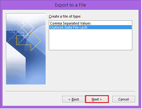 Select PST file