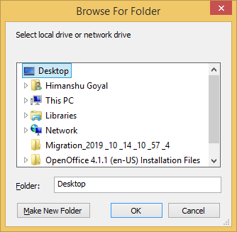 Browse the destination folder for the new PST