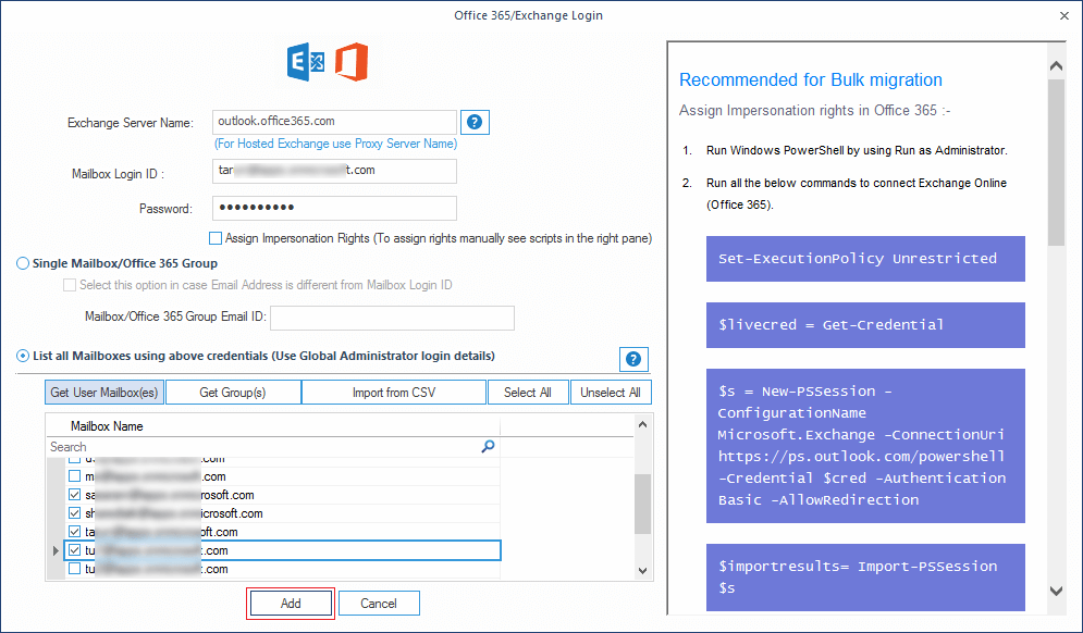 add the Office 365 credentials