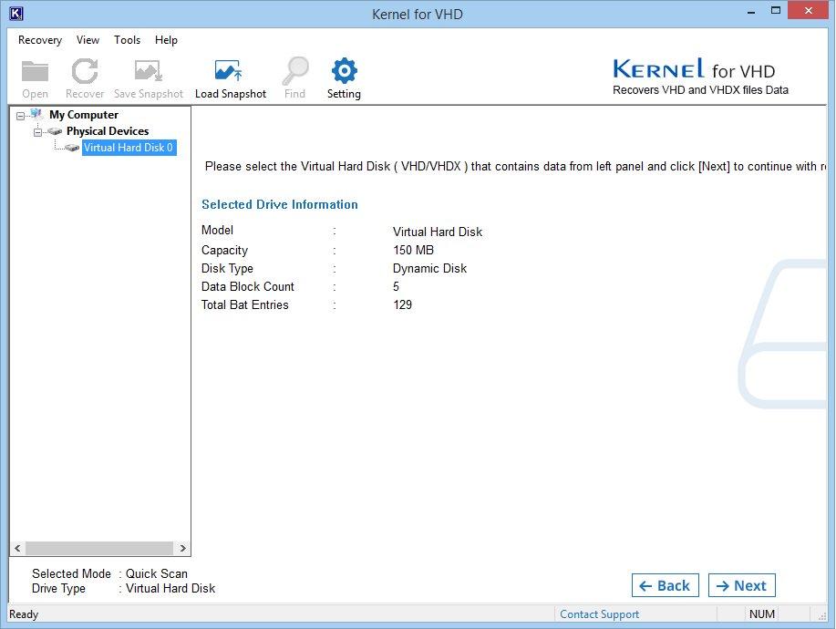 Select VHD file