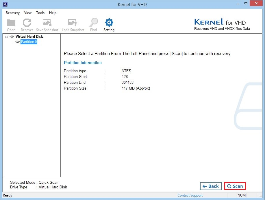 Select partition and start scan
