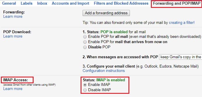 Enable IMAP in Gmail