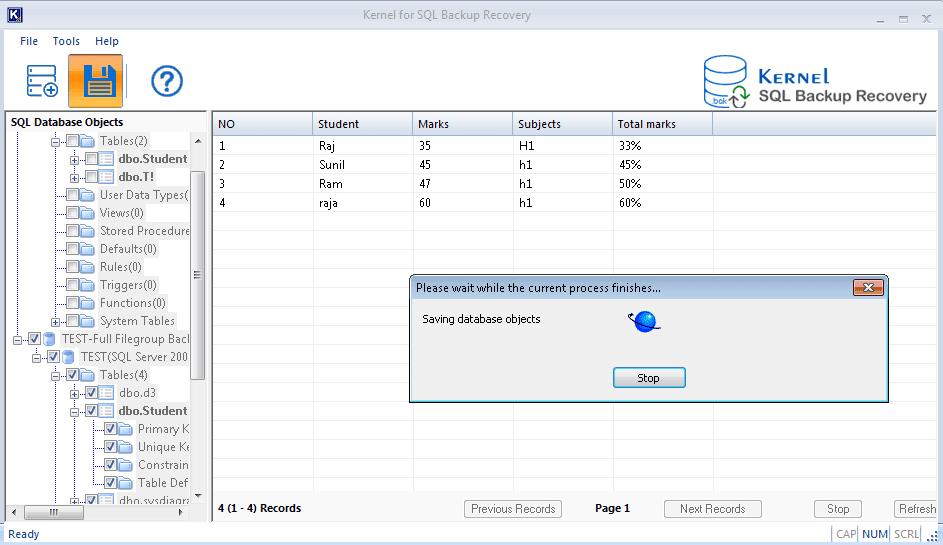 Saving database